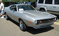 Shows a 1971 Javelin AMX that became the top performance model