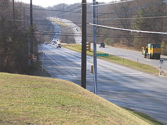 Maryland Route 28 - Looking west toward the crossing of Rock Creek from the intersection of MD 28 and Baltimore Road east of Rockville
