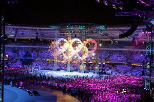 2006 Winter Olympics opening ceremony - Fireworks illuminated the Olympic rings during the 2006 Winter Olympics Opening Ceremony