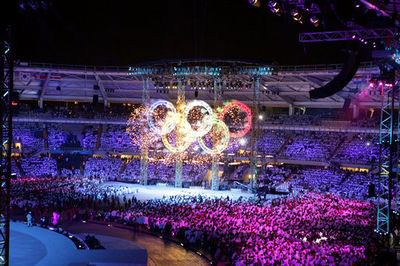 7f47ee243ee2 Fireworks illuminated the Olympic rings during the 2006 Winter Olympics  Opening Ceremony