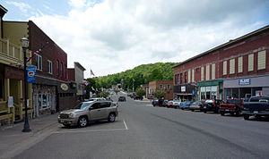 Downtown (Elm Ave.) Munising, Michigan, USA.