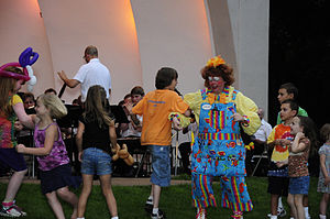 "Chicken Dance - Ozseeker the Clown doing the ""Chicken Dance"" at a Municipal Band concert in Eau Claire, Wisconsin"