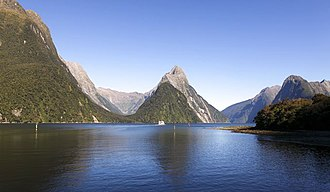 Fiordland - Milford Sound, the most famous tourist destination in Fiordland, and the only fiord accessible by road
