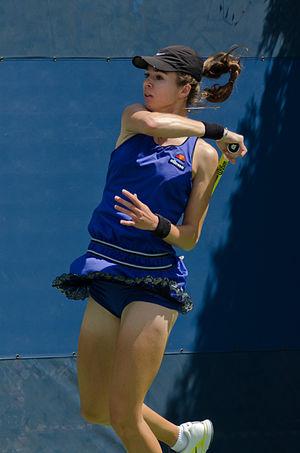 Galina Voskoboeva - Galina Voskoboeva returns a shot in the 2011 US Open Qualifying tournament.