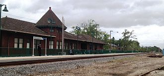 Properties of the Canadian National Railway in the United States serve, in many instances, as routes for Amtrak. Pictured is the Amtrak station in Hammond, Louisiana, refurbished with a modern passenger platform. This segment of the Canadian National Railway was built in 1854 to form part of the New Orleans, Jackson and Great Northern railway, which later became part of Illinois Central. 2012-03-20 Hammond LA Amtrak station.JPG