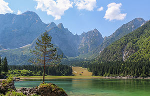 Fusine in Valromana - Upper Lake Fusine with Mt. Mangart