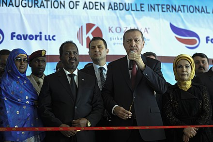 Erdogan and Somalian President Hassan Sheikh Mohamud opening the new terminal of Aden Abdulle International Airport in Mogadishu, Somalia 2015 01 25 Turkish President Visit to Somalia-1 (16176887607).jpg