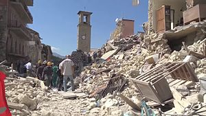 August 2016 Central Italy earthquake - Amatrice town center was destroyed by the earthquake