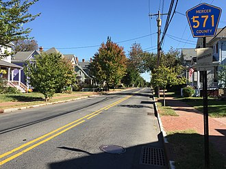 County Route 571 (New Jersey) - View east along CR 571 in Hightstown