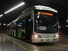 Bus del sistema de transporte público Transantiago.