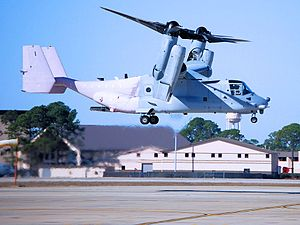 413th Flight Test Squadron - A CV-22 Osprey from the 413th FLTS hovers over Hurlburt Field, Florida