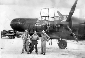 418th Tactical Fighter Training Squadron - 42-39588 at McGuire Field, Mindoro, Philippines. Aircraft assigned to the second commanding officer of the 418th, Major William B. (Bill) Sellers (on left wearing goggles). Aircraft was named after his wife Alice Ruth.
