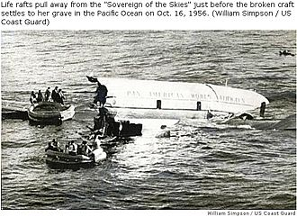 The captain goes down with the ship - Pan Am Flight 6 successfully ditches in the Pacific Ocean with Captain Ogg on the second of two life rafts. The airplane sank a few minutes after this photo was taken.