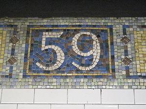 Lexington Avenue/59th Street (New York City Subway) - Station mosaic name tablet on the upper level