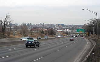 U.S. Route 6 in Colorado - The 6th Avenue Freeway in Denver, Colorado, looking east from Knox Court.