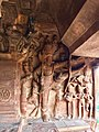 6th century Trivikrama with defaced Vamana legend below in Cave 3, Badami Hindu cave temple Karnataka 2.jpg