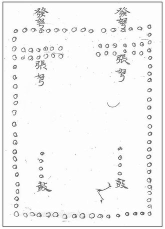 Volley fire - Illustration of a rectangular Tang volley fire formation using crossbows. From Li Quan 李筌, Shen ji zhi di tai bai yin jing 神機制敵太白陰經, ca. 759.