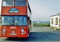 80 bus from Thurso just arrived outside Seaview Hotel, John OGroats (geograph 5245739).jpg
