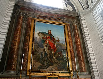 Kingdom of Norway (872–1397) - Painting of St. Olaf. Located in S. Carlo al Corso in Rome, Italy. - Pius Weloński, Sant'Olav di Norvegia (1893)