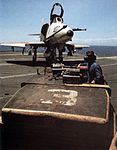 A-4E of VA-164 being towed on USS Hancock (CVA-19) c1968.jpg