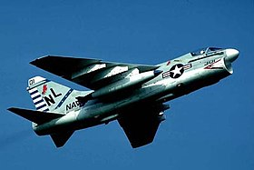 A-7E Corsair II from Attack Squadron 22 in flight in the 1970s.jpg