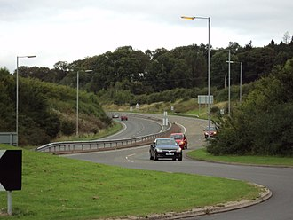 A roads in Zone 4 of the Great Britain numbering scheme - Looking north up the A441 Alvechurch Bypass from the roundabout at the junction of the A441 and B4120 roads between Alvechurch and Bordesley, Worcestershire, England