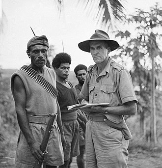 Kokoda Track campaign - Captain Tom Grahamslaw of the ANGAU and Seargent-Major Katue of the PIB, October 1942. Grahamslaw was at Buna when the Japanese landed. (AWM127566)