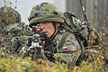 A Czech soldier provides cover while fellow soldiers conduct attack training during exercise Combined Resolve 2013 at the 7th Army Joint Multinational Training Command's Hohenfels Training Area in Hohenfels 131115-A-BS310-189.jpg