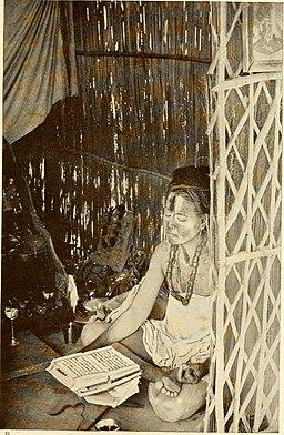 A VAISHNAVAITE NUN READING THE RAMAYANA STORY OF RAMA 1913