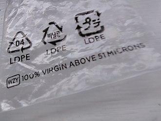 Low-density polyethylene - A Ziploc bag made from LDPE