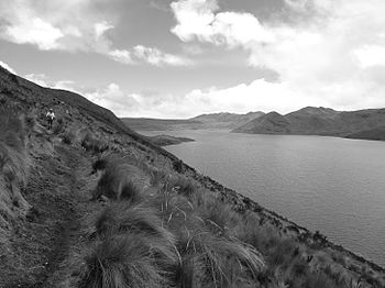 A black and white photo of a lake in the Andes Mountains.jpeg