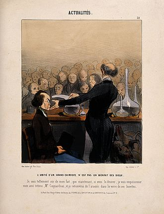 Arsenic - Satirical cartoon by Honoré Daumier of a chemist giving a public demonstration of arsenic, 1841