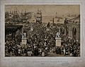 A festive crowd in a marketplace near a harbour in France in Wellcome V0048265.jpg