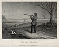 A man points his gun at a bird in the air while his dogs are Wellcome V0021909.jpg