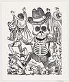 A skeleton holding a knife leaping over a pile of skulls, people flee in the background, from a broadside entitled 'Las bravisimas calaveras Guatemaltecas' MET DP869422.jpg