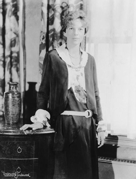 Studio portrait of Amelia Earhart, c. 1932. Putnam specifically instructed  Earhart to disguise 9881e4c7ff53