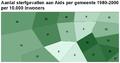 Aantal sterfgevallen aan Aids per gemeente choropleet per 10000inw.PNG