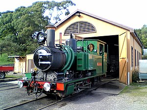 Dübs and Company -  West Coast Wilderness Railway no. 3730, built in 1898, leaving the shed at Strahan, Tasmania in September 2009