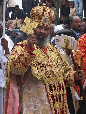 Blessing cross - An Ethiopian Orthodox bishop holding a blessing cross.
