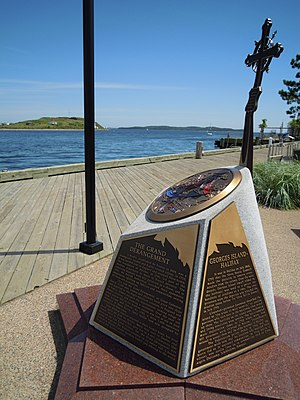 Georges Island (Nova Scotia) - Monument to Imprisoned Acadians at Bishops Landing, Halifax, overlooking Georges Island
