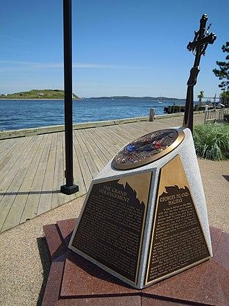 Georges Island (Nova Scotia) - Monument to Imprisoned Acadians at Bishops Landing, Halifax, overlooking Georges Island