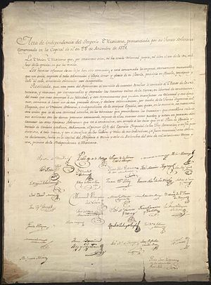 Declaration of Independence of the Mexican Empire - Original copy of the Declaration