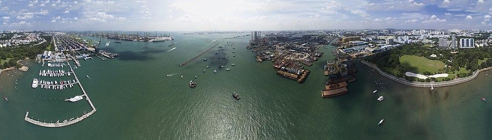 Aerial panorama of the Singapore Strait and the Pasir Panjang Port Terminal