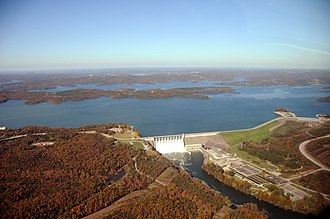 Table Rock Lake - An aerial photo of Table Rock Dam completed in 1958, in Branson, Missouri, which impounds the White River and forms Table Rock Lake