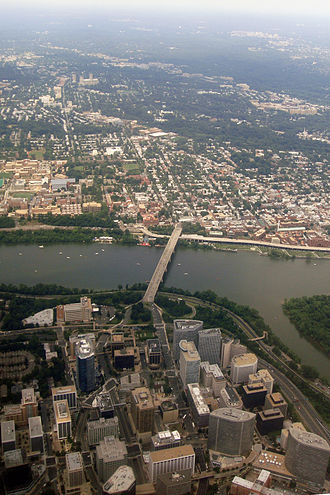 Rosslyn, Virginia - Aerial view of Georgetown, the Potomac River, and Rosslyn.