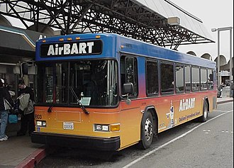 Coliseum–Oakland International Airport line - AirBART bus at the airport around 2008