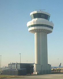 Tall, white control tower