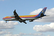 An Airbus A340 landing at London Heathrow Airport, England. Replaced by Boeing 757 and Boeing 767 early 2008