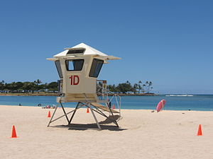 Lifeguard - An enclosed lifeguard tower at Ala Moana Beach, Honolulu, Hawaii