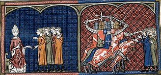 Albigensian Crusade - Pope Innocent III excommunicating the Albigensians (left). Massacre against the Albigensians by the crusaders (right).